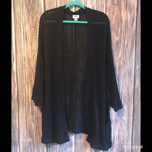 Old Navy Black Open Knit Long Sleeve Cardigan